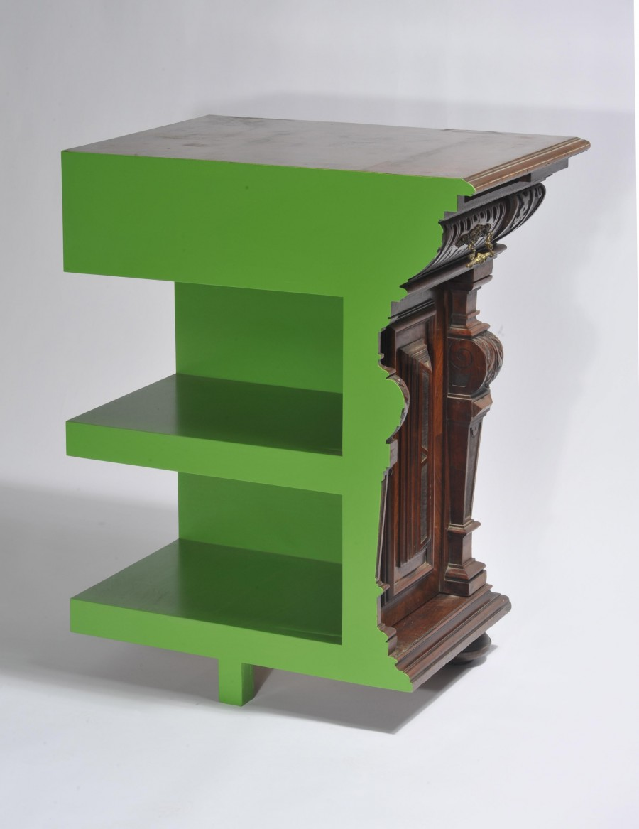 studio rolf, green cutted cabinet , 75x54x93, courtesy galerie Judy Straten