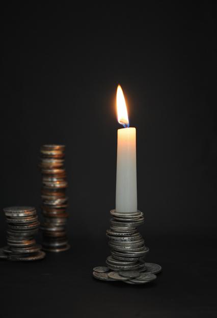 coins candelabra