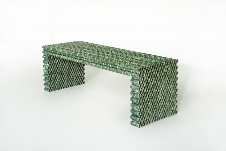 Studio Rolf, one dollar bench, one dollar biljets, 2015, Courtesy Judy Straten Gallery